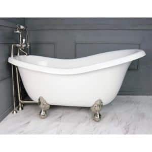 American Bath Factory 60 In Acrastone Acrylic Slipper Clawfoot Non Whirlpool Bathtubin White With Large Ball Claw Feet Faucet In Old Bronze Ba Slc60 900a Ob The Home Depot