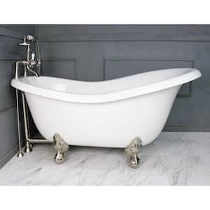 67 in. AcraStone Acrylic Slipper Clawfoot Non-Whirlpool Bathtubin White with Large Ball, Clawfeet Faucet in Satin Nickel