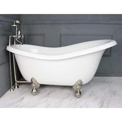 71 in. AcraStone Acrylic Slipper Clawfoot Non-Whirlpool Bathtubin White with Large Ball, Clawfeet Faucet in Satin Nickel