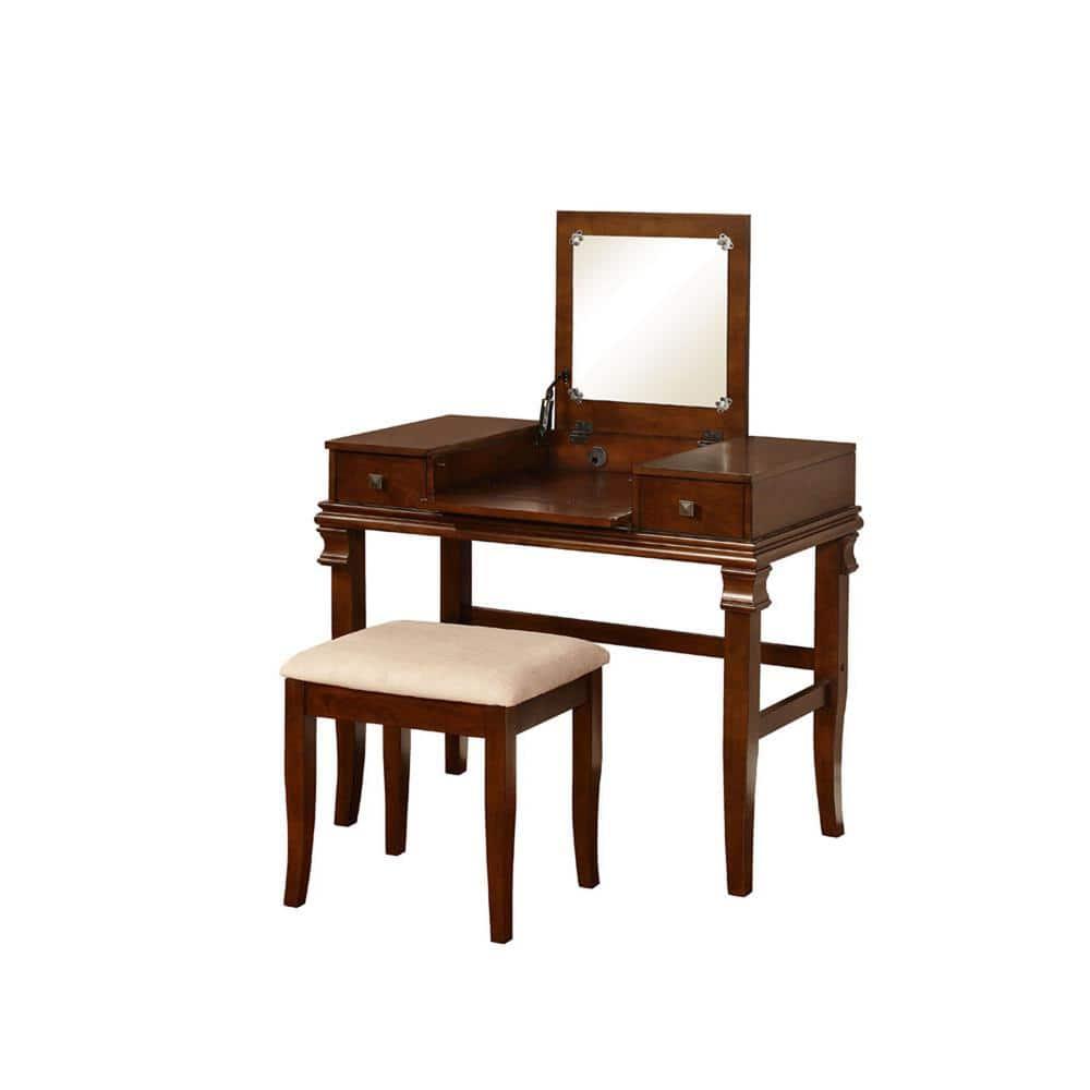Linon Home Decor Angela 2 Piece Walnut Vanity Set 98373wal 01 Kd U The Depot