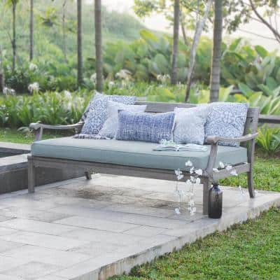 Wales Weathered Gray Wood Outdoor Sofa Day Bed with Blue Spruce Cushion