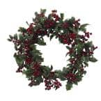 24in. Artificial Wreath with Holly Berries