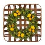 22 in. Dia Greenery Lemon Wreath with 24 in. L Bamboo Tobacco Basket