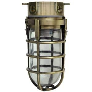 Industrial 1-Light Antique Brass Outdoor Weather Tight Flushmount Light Fixture