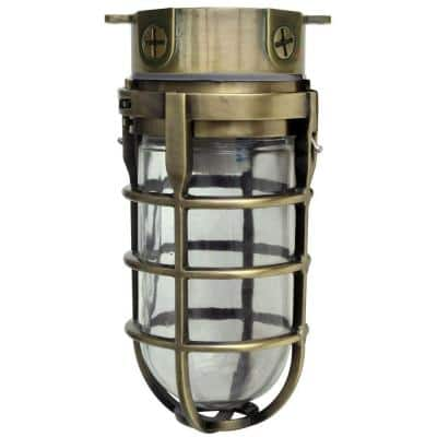 Industrial 1-Light Antique Brass Outdoor Weather Tight Flushmount Light Fixture