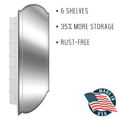 Betelgeuse 16 in. x 30 in. x 3-1/2 in. Frameless Recessed 1 Door Medicine Cabinet with 6 Shelves and Arch Mirror