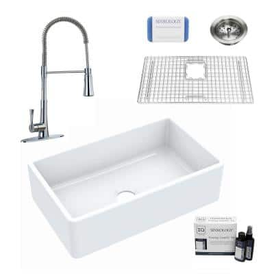Inspire All-in-One Fireclay 30 in. Single Bowl Farmhouse Apron Front Kitchen Sink with Pfister Zuri Faucet and Drain