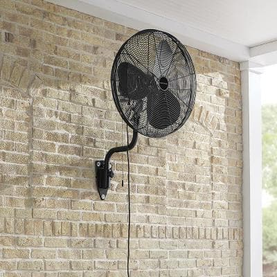 24 in. 3-Speed Oscillating High Velocity Black Wall Mount Fan with 3 Blades