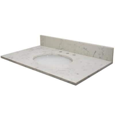 Vista 49 in. W x 22 in. D Quartz Vanity Top in Florentine with White Oval Single Sink