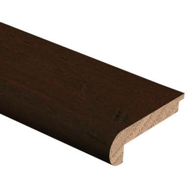 Hand Scraped Strand Woven Bamboo Brown 3/8 in. Thick x 2-3/4 in. Wide x 94 in. Length Hardwood Stair Nose Molding Flush