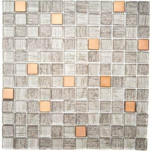 Copper Antwerp 11.81 in. x 11.81 in. Square Joint Gloss Glass Mosaic Wall Tile (0.97 sq. ft./Ea)