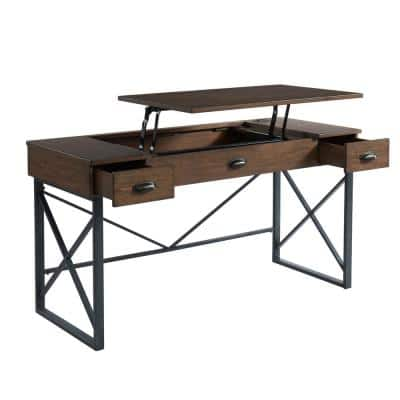 58 in. Rectangular Rustic Oak 2 Drawer Writing Desk with Adjustable Height Feature
