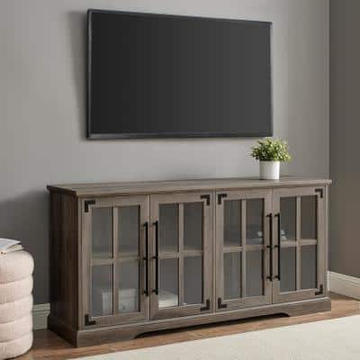 58 in. Grey Wash Composite TV Stand Fits TVs Up to 64 in. with Storage Doors