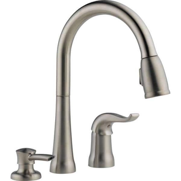 Delta Kate Single Handle Pull Down Sprayer Kitchen Faucet With Magnatite Docking And Soap Dispenser In Stainless 16970 Sssd Dst The Home Depot