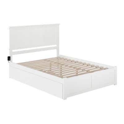 Madison White Queen Bed with Footboard and Twin Extra Long Trundle