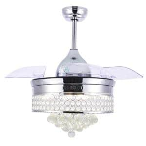 42 in. LED Chrome Retractable Ceiling Fan with Light Kit and Remote Control