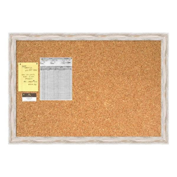 Amanti Art Alexandria White Wash Distressed Shabby Chic Wood 27 5 In H X 39 5 In W Framed Cork Board Dsw1418336 The Home Depot