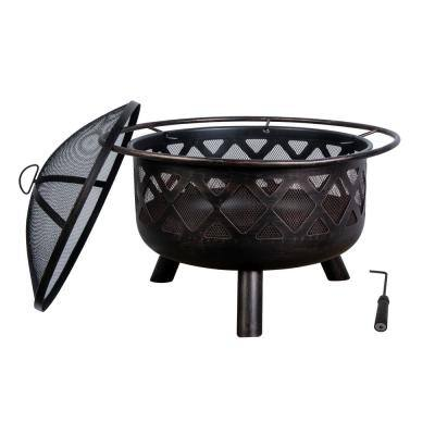 Crofton 32 in. Round Steel Fire Pit with lid and poker