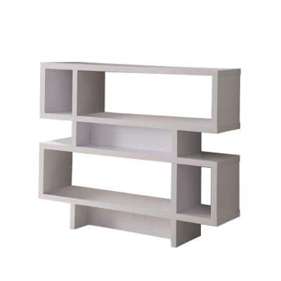 35 in. White Finish Composite 4 Shelf Accent Bookcase with Geometric Shape