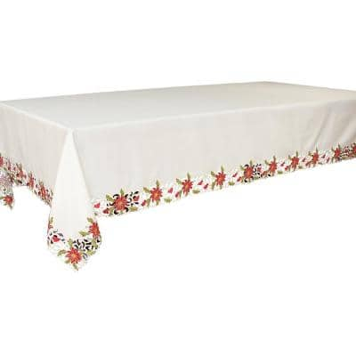 Xia Home Fashions 120 In X 70 In Poinsettia Lace Embroidered Cutwork Tablecloth Xd1478270120 The Home Depot
