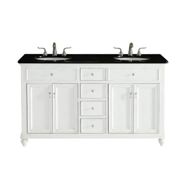Timeless Home 60 In W Double Bathroom, Antique White Bathroom Vanity Home Depot