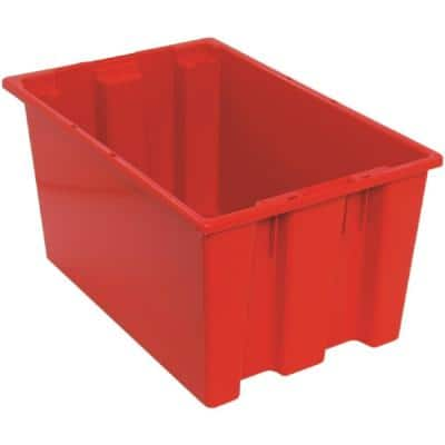 12 Gal. Genuine Stack and Nest Tote in Red (Lid Sold Separately) (3-Carton)