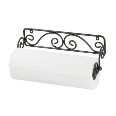 Scroll Collection Wall Mounted Black Paper Towel Holder