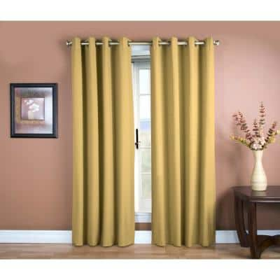 Gold Leaf Woven Grommet Room Darkening Curtain - 56 in. W x 84 in. L