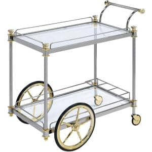 Metal Framed Silver and Gold Serving Cart with Glass Shelves and Side Handle