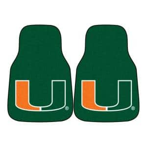 University of Miami 18 in. x 27 in. 2-Piece Carpeted Car Mat Set