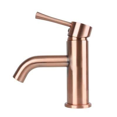 4 in. Centerset Single-Handle Low-Arc Low-Lead Bathroom Faucet without Drain in Copper