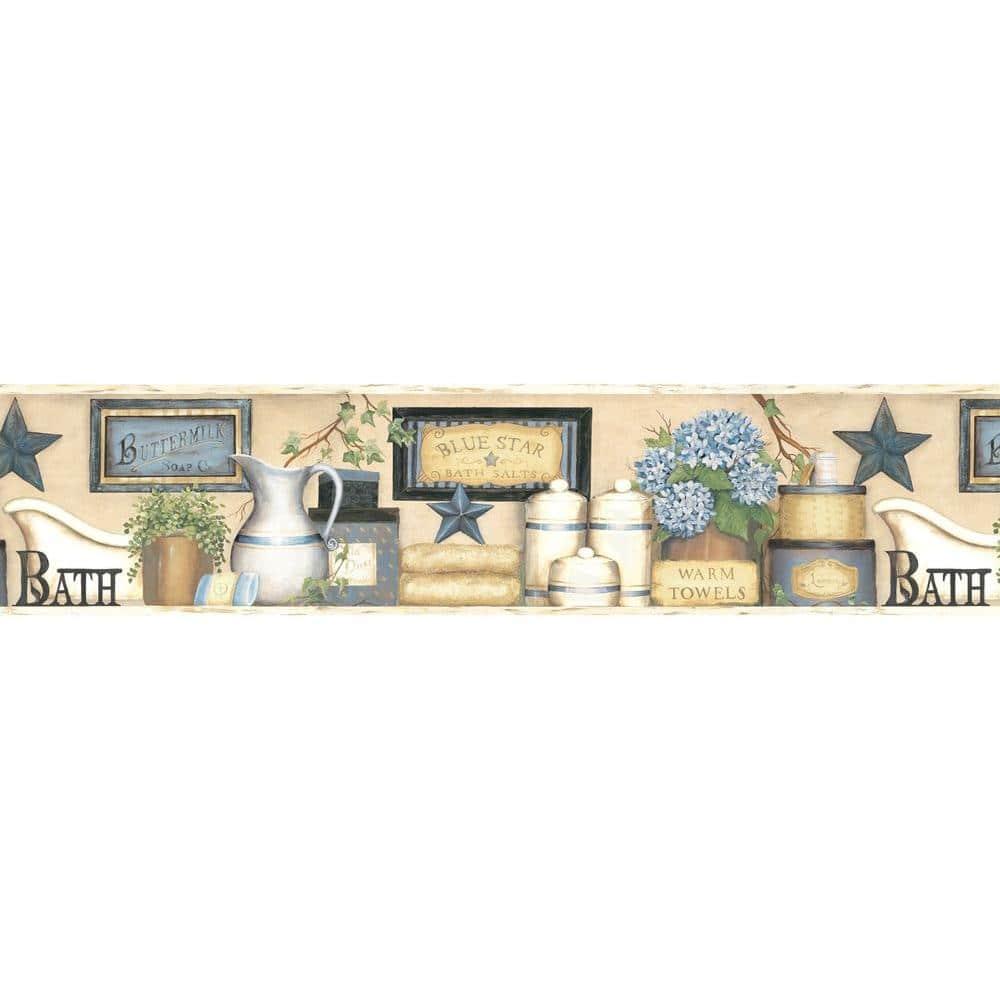 Chesapeake Martha Blue Country Bath Blue Wallpaper Border Ctr63101b The Home Depot