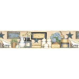 Martha Blue Country Bath Blue Wallpaper Border Sample
