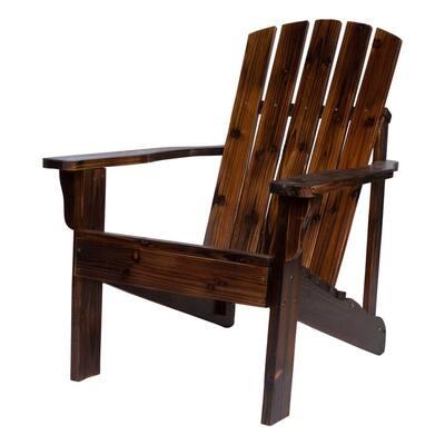 36 in. Tall, Vineyard Wood Patio Adirondack Chair, Burnt Brown