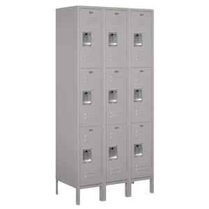 63000 Series 36 in. W x 78 in. H x 18 in. D - Triple Tier Metal Locker Unassembled in Gray