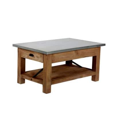 Millwork 36 in. Silver Medium Rectangle Metal Coffee Table with Shelf