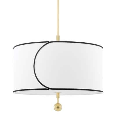 Zara 3-Light Aged Brass Geometric Pendant with Fabric Shade