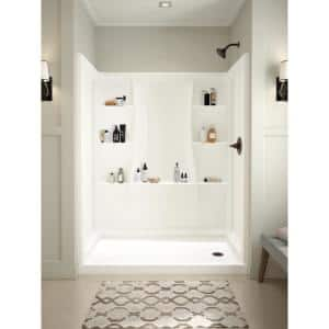 Classic 400 60 in. W x 74 in. H Three Piece Direct-to-Stud Alcove Shower Wall Surround in High Gloss White