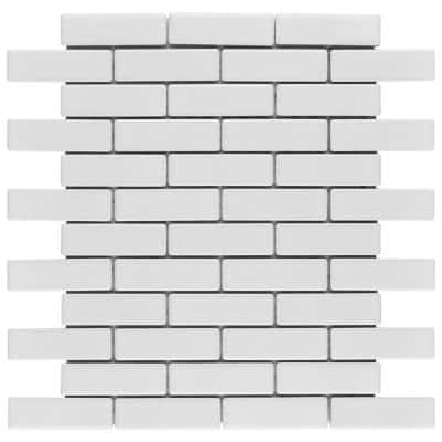 Metro Brick Subway Glossy White 11-1/2 in. x 11-3/4 in. Porcelain Mosaic Floor and Wall Tile (9.58 sq. ft. /Case)