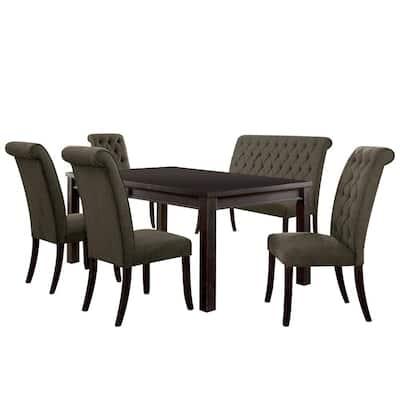 Sania III 6-Piece Antique Black/Gray Table Set