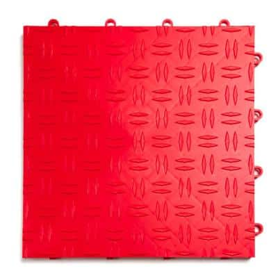 12 in. x 12 in. Diamond Red Modular Tile Garage Flooring (24-Pack)