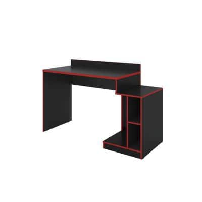 53.54 in. W Rectangular Black and Red Wooden Home Office Computer Gaming Desk