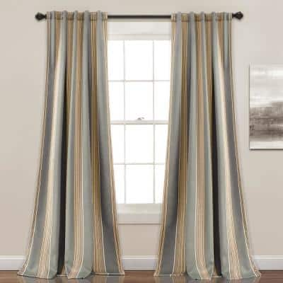 Gray Striped Back Tab Room Darkening Curtain - 52 in. W x 84 in. L (Set of 2)