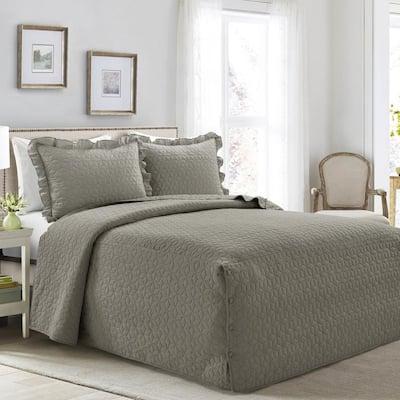 French Country Geo Ruffle Skirt 3-Piece Dark Gray Queen Bedspread Set