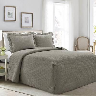 French Country Geo Ruffle Skirt 3-Piece Dark Gray King Bedspread Set