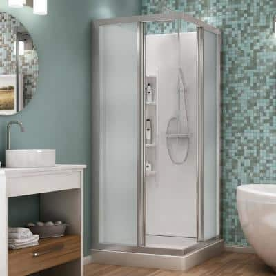 Mediterranean III 32 in. x 32 in. x 74 in. Corner Shower Kit with Center Drain in Chrome with Sliding Door