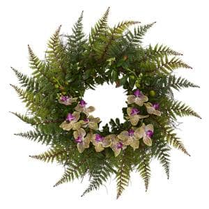 23 in. Fern and Phalaenopsis Orchid Artificial Wreath
