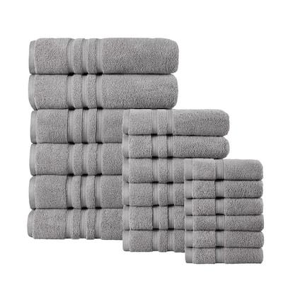 Micro Cotton 18-Piece Stone Gray Bath Towel Set