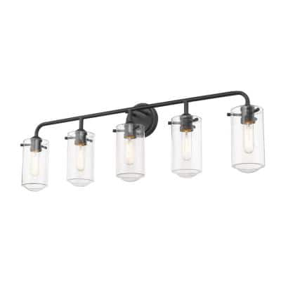 5-Light Matte Black Vanity Light with Clear Glass