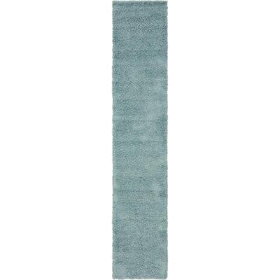 Solid Shag Slate Blue 13 ft. Runner Rug